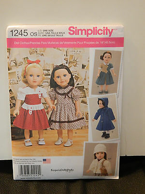"""NEW  SIMPLICITY 18"""" DOLL CLOTHES DRESSES, COAT, JACKET AND MORE  PATTERN 1245"""
