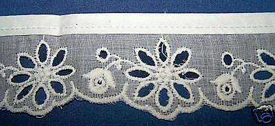 OLD WHITE EYELET LADY'S CUFFS TRIM BORDER EDGING-UNUSED