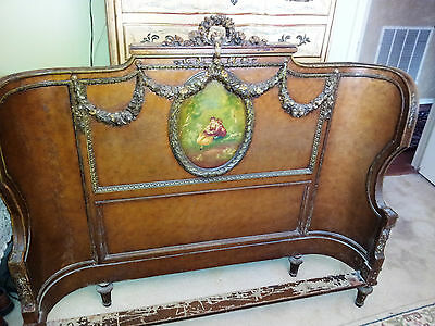 Antique French Bed - 1800's - European Double - Painted Head-Foot Boards