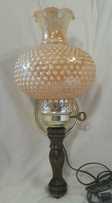 VINTAGE BRASS & WOOD ELECTRIC WALL SCONCE W/ HOBNAIL GLASS  SHADE