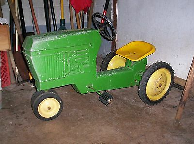Vintage John Deere Pedal car Tractor - Basement Find - as found - SEE PICS