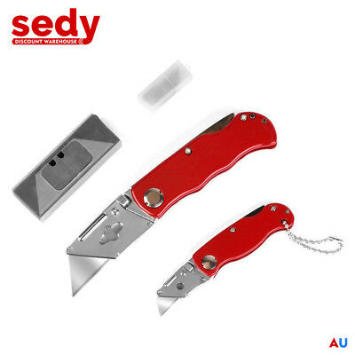 2 x Folding Utility Knife Set with 10 Spare Blades 2 Size Knives and Blades Kit