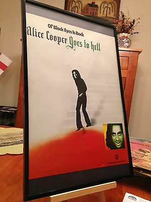 "BIG 11X17 FRAMED ORIGINAL RARE ""ALICE COOPER GOES TO HELL"" LP ALBUM CD PROMO AD"