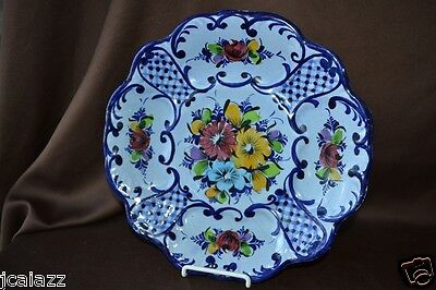 Vintage Portugal Pottery Plate Hand Painted blue-flow-wash Floral Scallop design