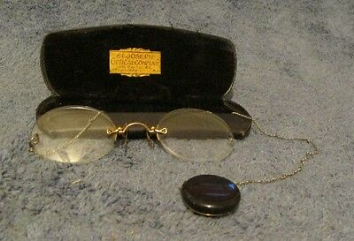 ANTIQUE 1910 PINCE NEZ GLASSES WITH KETCHUM MCDOUGAL FOB PIN BROOCH + HARD CASE