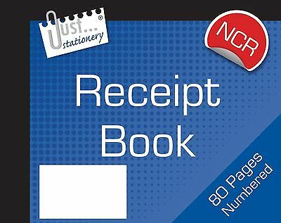 NCR Carbonless Receipt Book Numbered Cash Duplicate Half Size 1 - 80 Pages Pad