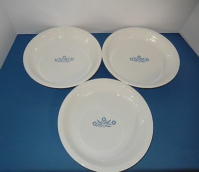 CORNING WARE BLUE CORNFLOWER LOT OF 3 PIE PLATE DISHES