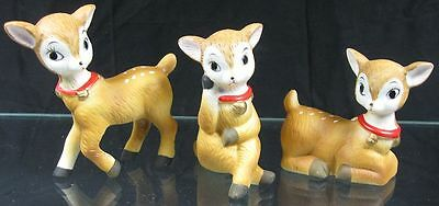 Lot of 3 Vintage 1980's Real Cute Christmas Fawn Deer Homco