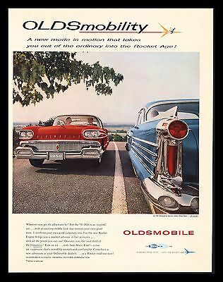 "Original 1958 ""oldsmobile"" Classic Car Vintage Art Print Ad"