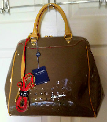 ARCADIA TAUPE PATENT LEATHER SATCHEL NWT