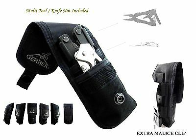 2 Pockets Gerber Knife & Multitool Pouch / Sheath Fit For Mp800, Mp600,06 Auto !