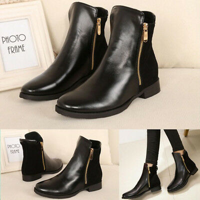Fashion Women Ankle Boots Chelsea Martin Boots Low-heeled Zipper Bootie Black