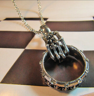 Classic Charm Halloween Gothic Punk Skull Hand with a Crystal ring Fine necklace