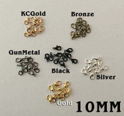 20X Lobster Clasp Gold Silver Bronze Gun Metal Plated Claw Parrot Findings 10Mm