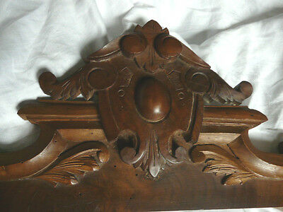 Antique French architectural walnut carved Pediment