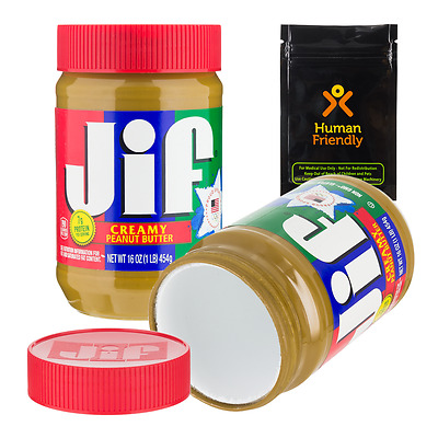 Jiffy Peanut Butter Diversion Safe Stash Can w Smell Proof Bag FREE2-3D S&H