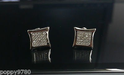 Sterling Silver Square Cubic Zirconia CZ Micro Pave Mens Stud Earrings Screw