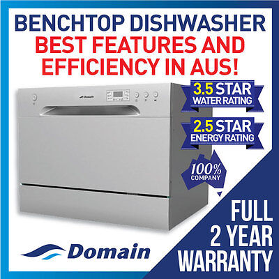 New Domain 6 Place Benchtop Countertop Dishwasher Silver - 2Yr Warranty