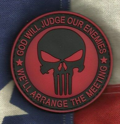 GOD WILL JUDGE OUR ENEMIES PUNISHER 3D PVC Velcro Badge Morale Military Patch