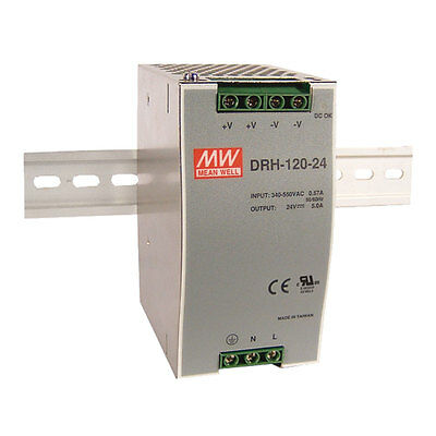 Mean Well DRH-120-24 AC DC DIN-Rail Power Supply Single 24 Volt US Distributor