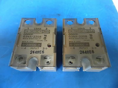 Lot of 2 Omron G3NA-220B 24-240VAC 20A Solid State Relay