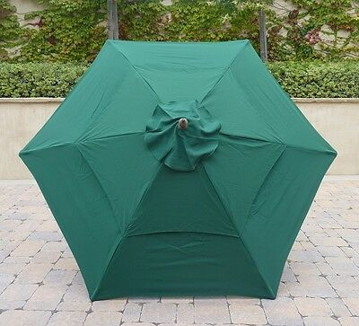 Double Vented 9ft Umbrella Replacement Canopy 6 Ribs in Green (Canopy Only)