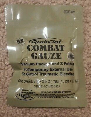 2 NEW Vacume packed Z Fold QuikClot Combat Gauze Expiration 08-2017 or 10-2017
