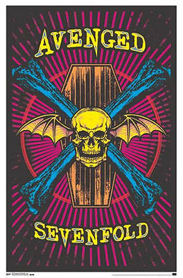 Avenged Sevenfold - Blacklight Poster - 24X36 Flocked Music Skulls Coffin 13097