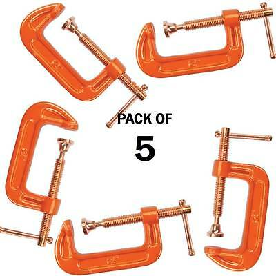 """Pack Of 5 Cast Iron 2"""" 50 Mm G Clamps Wood Working Welding Cramps Copper Plated"""