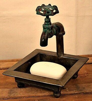 New Primitive Country FAUCET SOAP DISH Spigot Holder Kitchen Bathroom Rusty Old