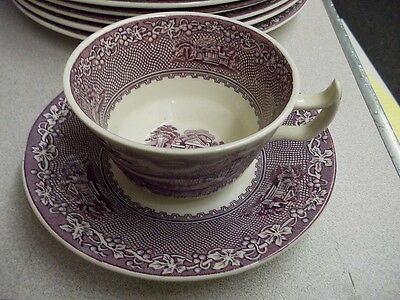 """Royal Staffordshire Lavender/Mulberry """"JENNY LIND"""" 5 Cups & 8 Saucers"""