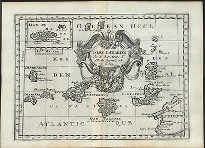 Atlantic Ocean Canary Islands Madeira 1699 Sanson lovely decorative antique map