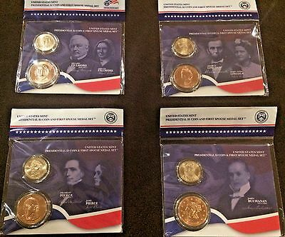 All 4 2010 Presidential Coin & First Spouse Lady Medal Set Us Mint New Gift Bu