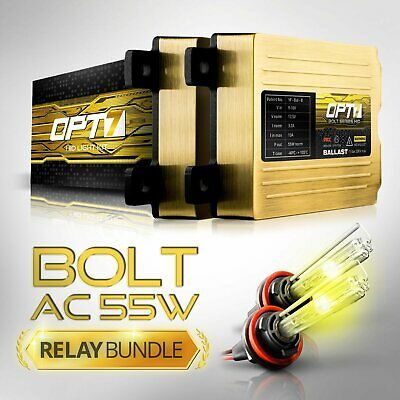 OPT7 AC 55w H11 HID Kit w/Relay Harness Bundle ¦ All Xenon Light Colors