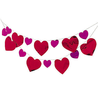 8ft Shiny Foil Heart Valentine Banner BIG hearts Pink and Red