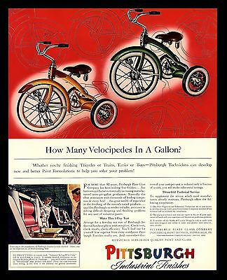 """ORIGINAL 1941 """"PITTSBURGH INDUSTRIAL FINISHES"""" TRICYCLE PAINT ART PRINT AD"""