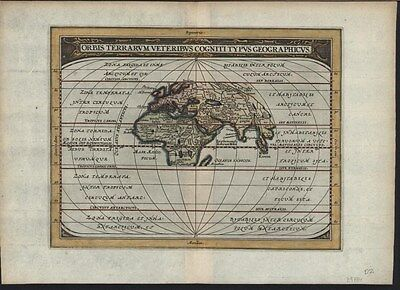 Eastern Hemisphere 1661 Jansson Ancient World antique map with lovely hand color