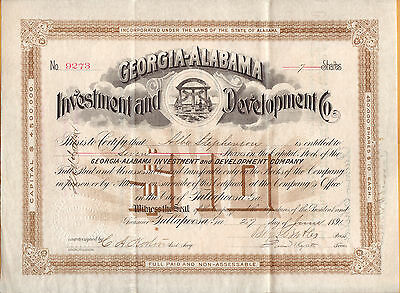 1891 Georgia-Alabama Investment And Stock Certificate Signed By Ben. F. Butler