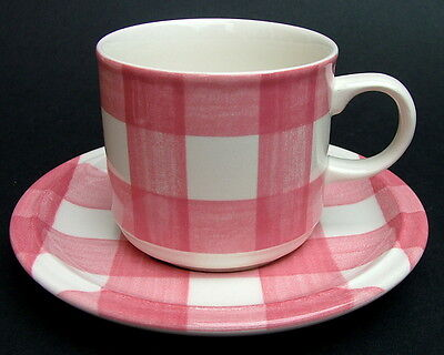 Grindley Carolina Red Gingham Checks Tea or Coffee Cups & Saucers - Look in VGC