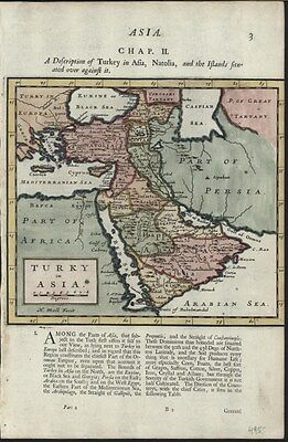 Arabia Middle East Turkish Empire 1701 Moll pleasing antique hand color map