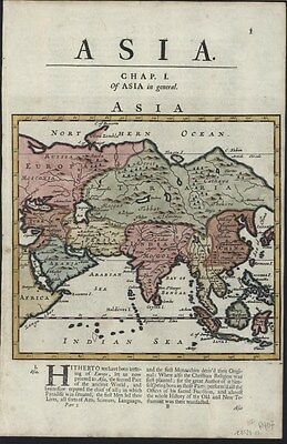 Asia China India Russia 1701 Moll engraved hand color antique map