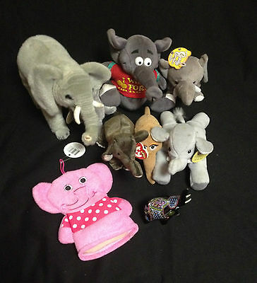Large Lot of Stuffed Elephant Toys - Used But Clean