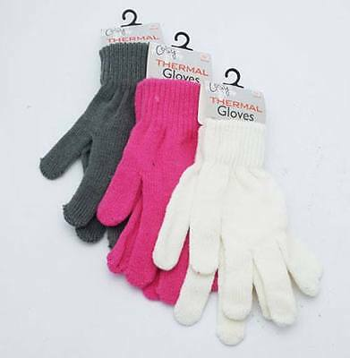 Ladies Thermal Gloves Cosy Warm Choice Of Fresh Colors Pink White Grey