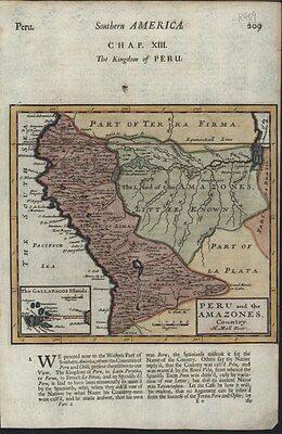 Peru & Amazones Country South America c.1701 Moll fine antique hand colored map