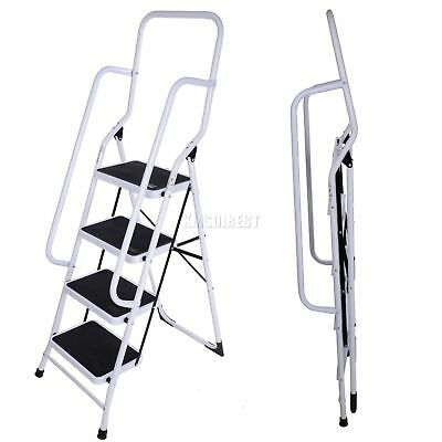 4 Step Steel Non Slip Ladder tread Stepladder Safety Rail Handrail New Foldable