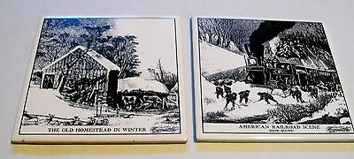 Currier and Ives American Railroad & The Old Homestead Winter Art Tile Trivet 2