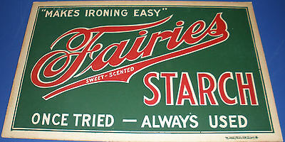 RARE FAIRIES STARCH CARDBOARD ADVERTISEMENT SIGN ONE SIDED  DISPLAY