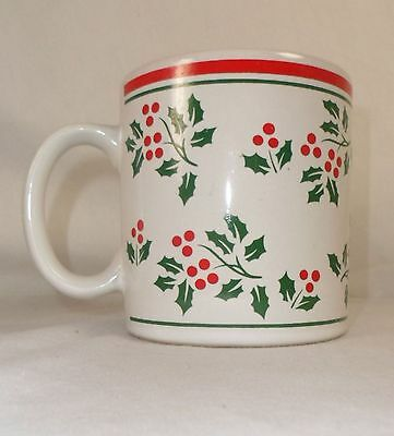 """Large Holly Berries Coffee Mug Cup Red Green Christmas Holiday 3 3/4"""""""