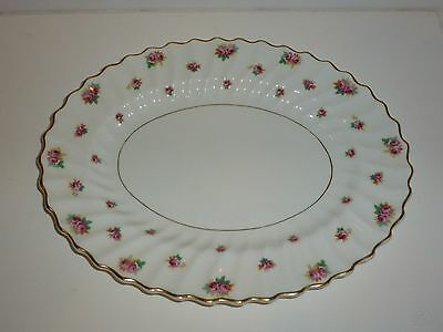 Vintage Royal Doulton Oval Serving Platter, H4845 Rosebud, Waved Petal Design