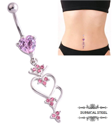 Pink Heart Belly Dangle Naval Ring Belly Bar Gem Crystal Surgical Steel UK Sell
